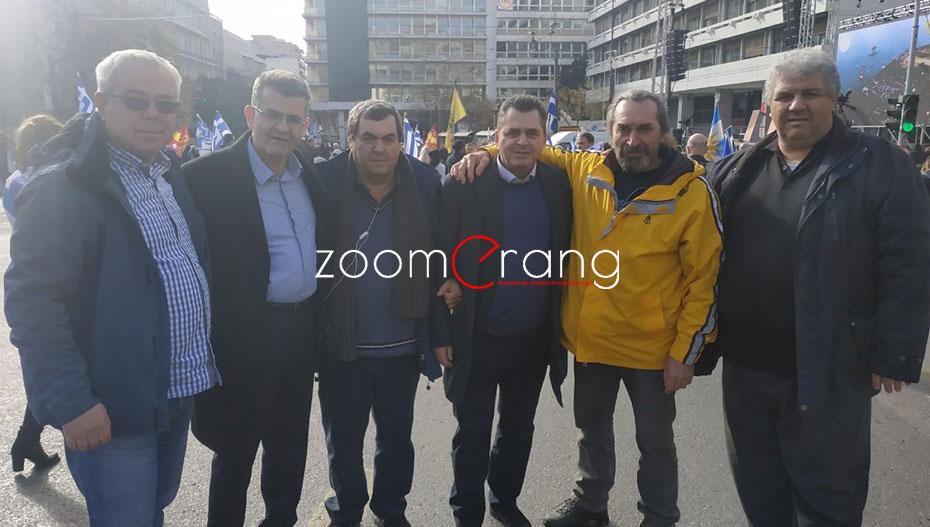 Στην πρώτη γραμμή και πάλι ο Κώστας Καλαϊτζίδης. Στην Αθήνα για το συλλαλητήριο μαζί με πολλούς Ημαθιώτες